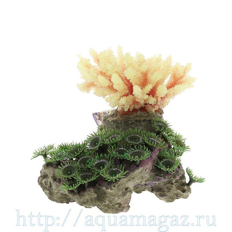 Композиция из кораллов пластик+силикон 15х12.5х12.5см