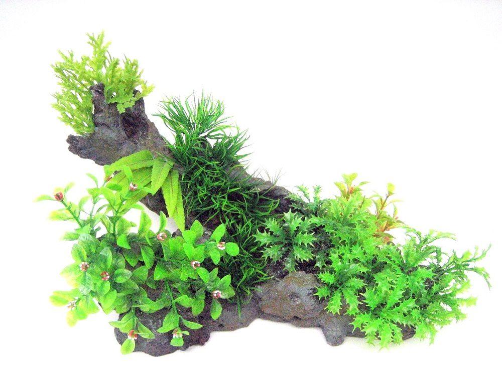 Композиция из искусственных растений и коряги 39х22х22см