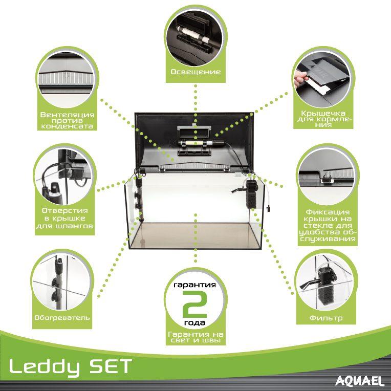 Аквариум LEDDY LT 60 / 54л прямой 60х30х30см. Комплектация: крышка,свет Leddy Tube 1х6Вт 6500К фильтр PAT mini нагреватель AQn50W рамка., фото 5