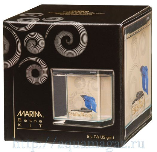 Аквариум Marina Betta Kit Zen, 2л, черный