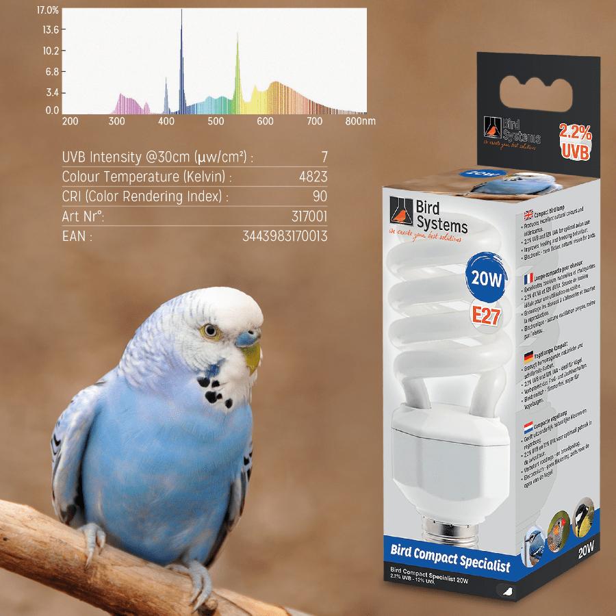 Лампа для волнистый попугаев BIRD SYSTEMS BIRD COMPACT SPECIALIST 2.2%, фото 1