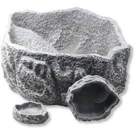 Поилка/кормушка для рептилий, серая, 9 х 7,5 х 1,5 см