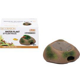 Камень-укрытие для мелких рыб и керамическая площадка с сеткой из нержавеющей стали для культивации растений