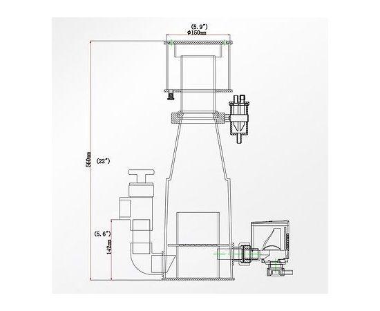 Флотатор внутренний классический Classic-150 INT D150/315x220x560 800-1000л помпа AQ-2000S 18Вт возд. 720л/ч D слива 40мм, - 4 -aquamagaz.ru