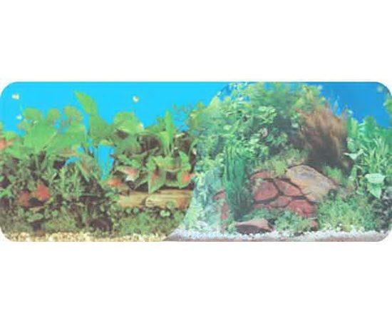 Фон двухсторонний 30см. Растительный нимфея (синий) / Растительный с камнем (синий)