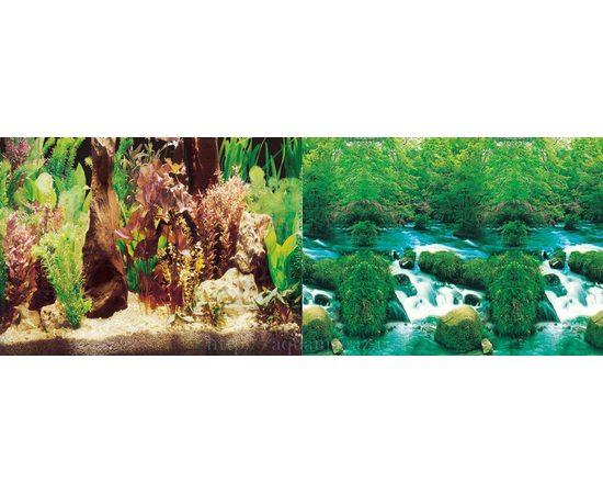 Фон 30см. Растительный с корягой и Водопад, фото