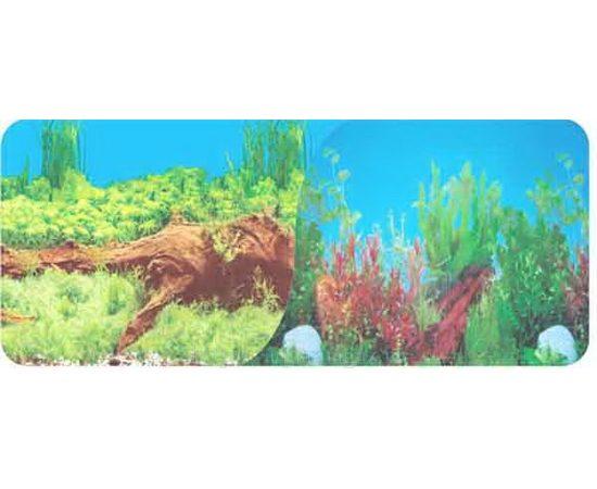 Фон 50см. Растительный с корягой синий и Растительный с корягой и камнями синий, фото