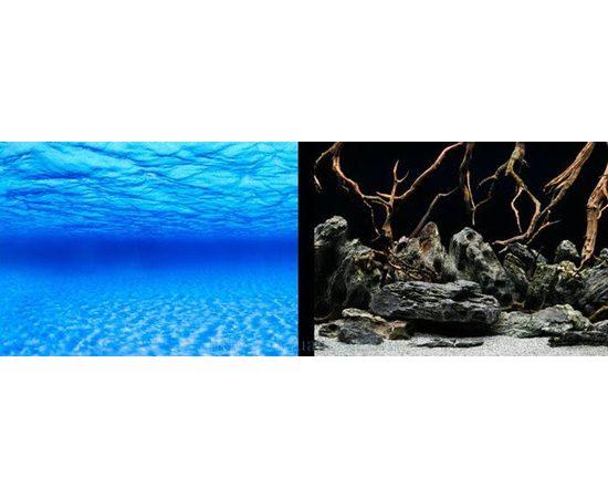 Фон 45см. Синее море и  Камни с корягами черн, фото