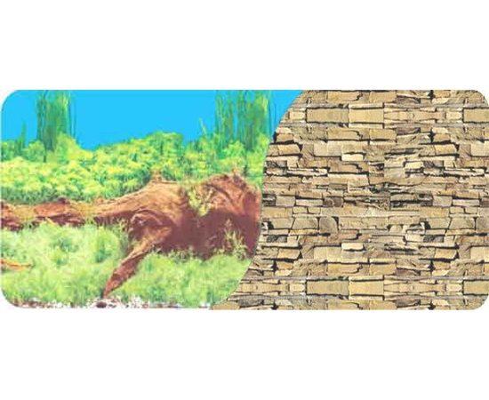 Фон 60см. Растительный с корягой синий и Каменная стена из сланца, фото
