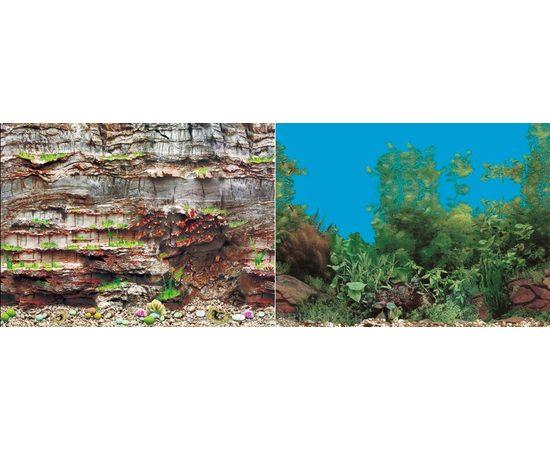 Фон 60см.Камни скалистая стена и  Растительный с камнем синий, фото