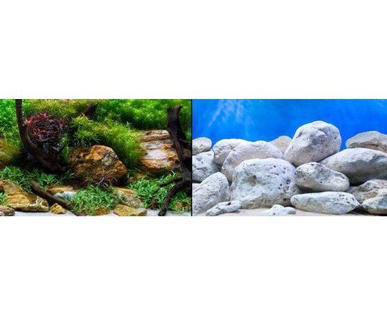 Фон 60см. Камни с мхом и Белые камни синий, фото