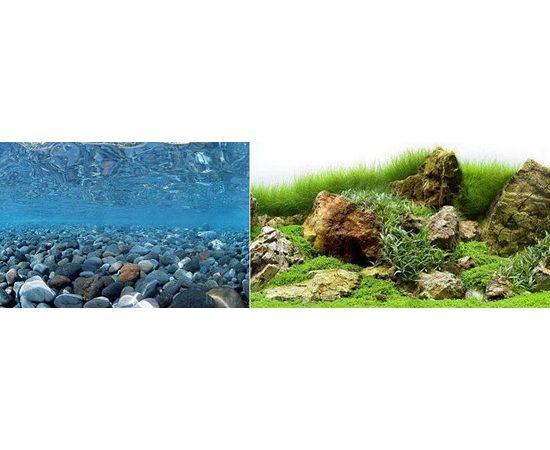 Фон 60см. Речная галька и Камни с мхом, фото