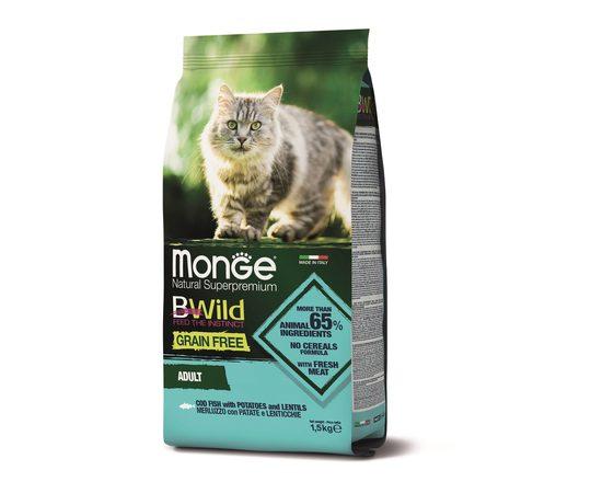Беззерновой корм для кошек Monge BWild Cat GRAIN FREE MERLUZZO, фото