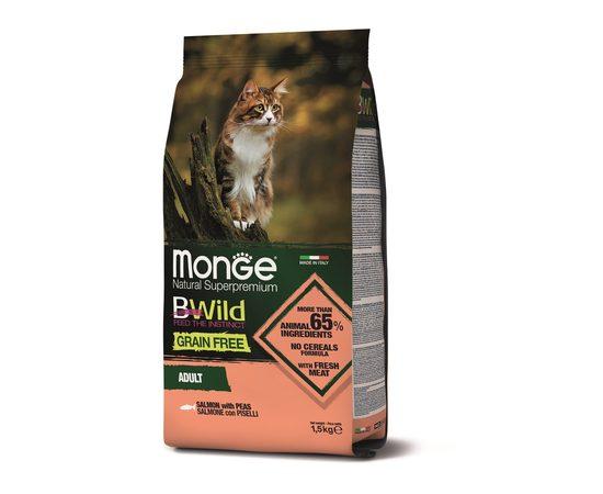 Беззерновой корм для кошек Monge BWild Cat GRAIN FREE SALMONE CON PISELLI, фото