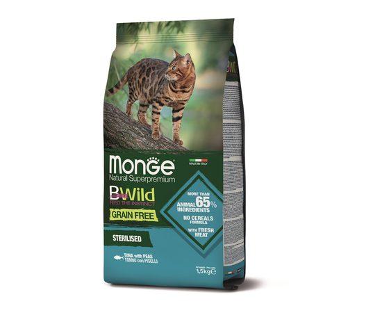 Беззерновой корм для взрослых кошек Monge BWild Cat GRAIN FREE TONNO, фото