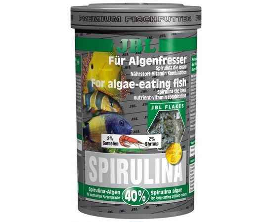 Корм класса премиум с высоким содержанием спирулины в форме хлопьев для растительноядных в пресном и морском аквариуме JBL Spi, фото