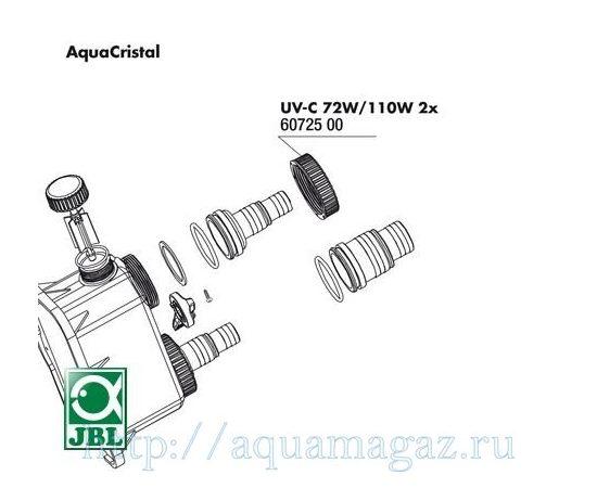 Гайки для крепления штуцеров к УФ-стерилизаторам JBL AquaCristal UV-C 72/110W 2 шт. JBL UV-C 72/110W union nut, - 3 -aquamagaz.ru